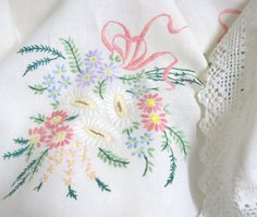 Vintage Embroidered Linen Tablecloth with Crocheted Lace Trim