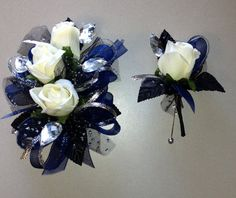 Navy Blue Black Prom Corsage and by FlorescenceByDesign on Etsy