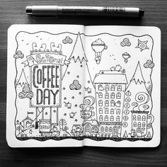 Dave Garbot — National Coffee Day! #illustration #drawing...