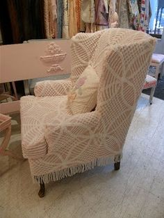 chenille slip-covered chair