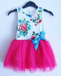 Girls Floral Tutu Dress In 4 Colours. Size 12/18 and 18/24 mths, 2, 3, 4, 5.