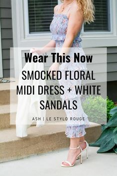 Periwinkle Smocked Floral Midi Dress + White Blazer.   Le Stylo Rouge Fashion Group, Only Fashion, Boho Fashion, Fashion Beauty, White Midi Dress, Floral Midi Dress, Stylish Dresses, Stylish Outfits, Little Fashion