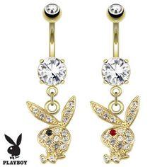Piercing nombril Playboy 02 - Lapin plaqué-or pendant
