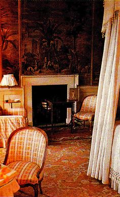 Haseley House Tobacco Bedroom. Interior Design John Fowler and Nancy Lancaster