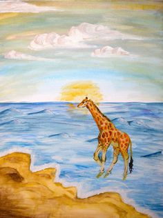 Giraffe At The Beach ~ Anonymous Yellow Cloud, Laide, Bad Art, Savannah Chat, Les Oeuvres, Habitats, Thrifting, Giraffe, Clouds