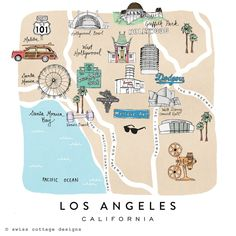 Everything you need to know about Los Angeles in one simple map Swiss Cottage Designs - Los Angeles http://papasteves.com/ Los Angeles Map, Los Angeles Travel Guide, Fernweh, Travel Usa, Travel Posters, Usa Travel Map, Swiss Cottage, Usa Trip, Road Trip Usa