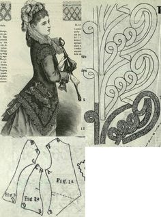 Tygodnik Mód 1876.: Summer sleeveless overall from black cashmere with braid and lace trimmings; Fig. 1. front part, 2. side gore, 3. back part.
