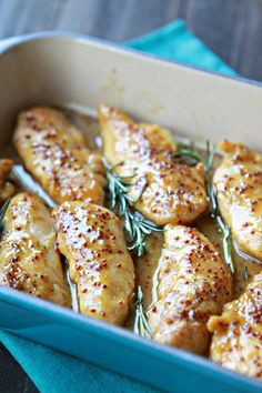 Easy recipe for Honey Mustard Baked Chicken.