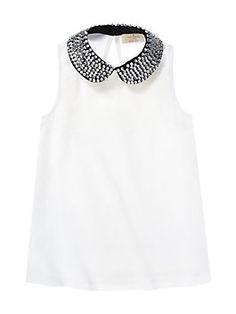 Kate Spade Spring 2015 Girls' Embellished Jensen Top, Fresh White