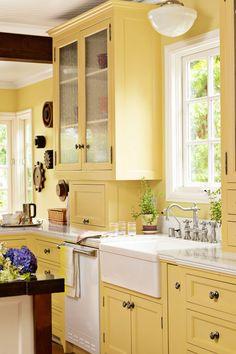 Yellow Kitchen Decorating Ideas Best Of 24 Kitchen Color Ideas Best Kitchen Paint Color Schemes Yellow Kitchen Cabinets, Kitchen Cabinets Decor, Farmhouse Kitchen Cabinets, Home Decor Kitchen, Kitchen Ideas, Kitchen Yellow, Cabinet Decor, Cabinet Ideas, Oak Cabinets