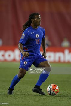 Sebastien Thuriere #15 of Haiti during the CONCACAF Gold Cup match between USA and Haiti at Gillette Stadium on July 10, 2015 in Foxboro, Massachusetts.
