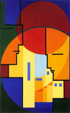 Ontmoeting (Meeting) 1938-39. Lou Loeber (1894-1983) was a Dutch painter, artist , illustrator, engraver and glass painter. She discovered Cubism, the work of De Stijl and of Le Corbusier in 1919, later works by Piet Mondrian and the Bauhaus. She favoured subjects taken from industry and technology and stylized reality sing the diagonal, as well as the horizontal and vertical line.