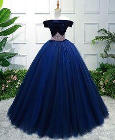 Discount Comfortable Dark Blue Prom Dresses, Dark Blue Tulle Off Shoulder Long Prom Dress, Blue Sweet 16 Dress Elegant Dresses, Pretty Dresses, Formal Dresses, 15 Dresses, Dark Blue Prom Dresses, Navy Blue Quinceanera Dresses, Sweet 16 Dresses Blue, Vestidos Color Azul, Quince Dresses