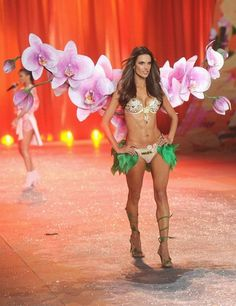 Alessandra Ambrosio as an orchid with the millions dollars bra at the 2013 VS show
