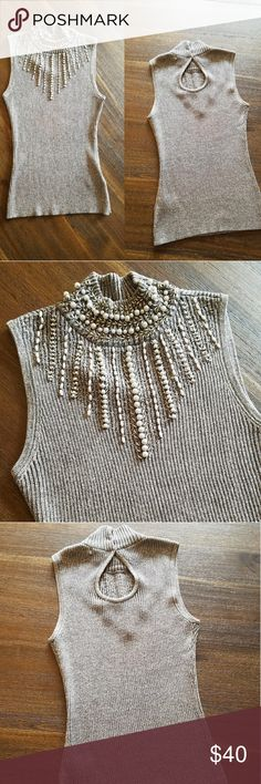 🔴WEEKEND SALE🔴 Cache Beaded Sleveless Turtleneck Gorgeous top. Cache Tops