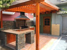 @shhimpinnin Outdoor Kitchen Plans, Outdoor Kitchen Countertops, Outdoor Kitchen Design, Backyard Barbeque, Patio Grill, Barbecue, Bbq Shed, Backyard Shade, Backyard Patio Designs