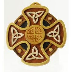 CELTIC CROSS TRINITY KNOT WALL HANGING - 6 INCHES, $38.95. Handmade in Ireland using traditional methods and seven different kinds of wood.