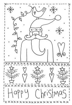 Ideas for embroidery christmas cards free pattern Primitive Embroidery Patterns, Embroidery Designs, Christmas Embroidery Patterns, Primitive Stitchery, Primitive Crafts, Embroidery Applique, Cross Stitch Embroidery, Bordado Popular, Christmas Sewing