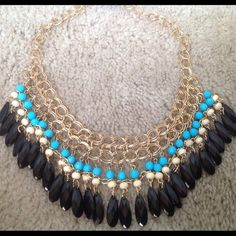 Blue Tassels Necklace NEW Blue, Cream, and Black Beaded Statement Necklace, Brand New with tags.  LOWEST PRICES ARE LISTED UPFRONT Jewelry Necklaces