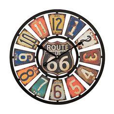 Route 66 License Plate Clock   Kirklands