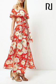 Capture your inner free spirit this summer with this floral print bardot style maxi dress. Flowy, flowery, and dripping with Bohemian vibes, this gorgeous piece is just £35 at River Island.