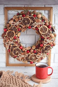 Wreath on the door of dry fruits and vegetables for the Christmas holidays, Winter door decoration of dried flowers in the boho style Natural Christmas, Christmas Mood, Christmas Crafts, Christmas Balls, Handmade Decorations, Xmas Decorations, Fall Crafts For Adults, Holiday Wreaths, Christmas Inspiration