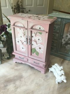 Upcycled Wooden Jewelry Box // Vintage Shabby Chic Decor Jewelry  Chest  // Pink Painted Jewelry Armoire by ByeByBirdieDesigns on Etsy https://www.etsy.com/listing/280177212/upcycled-wooden-jewelry-box-vintage
