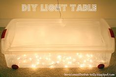 Light Table: It is really simple to make, all you need to do is put some white Christmas lights into a clear storage box.  Tape wax paper to the inside of the lid so it will diffuse the light. You may need to drill a hole in the side for the light cord if it is not flat enough to still close the lid. Then all you need are some colorful opaque items and let your child play!  Children love to move items around on this light table.  Watch closely so small items don't go in the mouth of small…