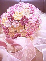 kanzashi folded fabric flower bouquet