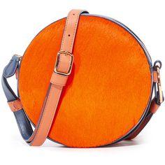 Diane Von Furstenberg Circle Bag ($298) ❤ liked on Polyvore featuring bags, handbags, shoulder bags, orange shoulder bag, shoulder strap bags, orange purse, strap purse and orange handbags