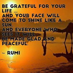 Be grateful for your life...and your face will come to shine like a sun.  And everyone who sees it will be made glad and peaceful. Rumi