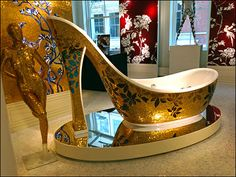 High Heeled Bath Wear as Tile Visual Merchandising