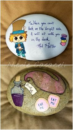 Mad Hatter double sided painted rock, Alice in Wonderland