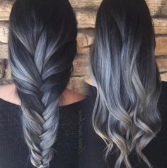 The Last Balayage Hair Color You'll Love – Latest Hairstyles Balayage coloring is becoming more popular, it looks more natural than before! Ombre balayage is the latest hair dye trend – it is more. Gray Hair Color Ombre, Hair Color Balayage, Blonde Balayage, Ombre Style, Ash Gray Balayage, Gray Color, Brown To Grey Ombre, Black To Silver Ombre, Silver Ombre Hair