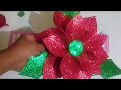 Como hacer flor de noche buena o flor de pascua con foami - YouTube
