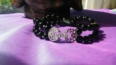 Sterling silver Diamante, black Onyx and freshwater peacock Pearl bracelet. £27.00