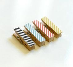 mini clips via uncovet. Love the design Arts And Crafts, Diy Crafts, Paper Organization, Washi Tape, Masking Tape, Handmade Design, Craft Projects, Craft Ideas, Diy Ideas