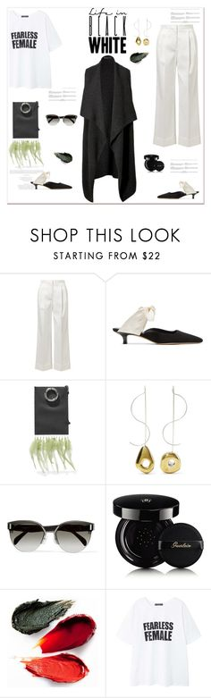 """""""My Mood Today"""" by lidia-solymosi ❤ liked on Polyvore featuring The Row, Leigh Miller, Donna Karan, Prada, Guerlain, Rituel de Fille and MANGO"""