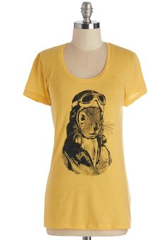 Quirks for Me Tee. Center todays unique look around this squirrel-printed tee! #yellow #modcloth