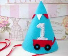 Red Wagon Party Hat Felt Party Hat First Birthday by LollieBlossom, $18.00