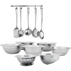 Conjunto Cozinha Inox 14 Peças - Utensílios + Bowls + Escorredor de Arroz + Escorredor de Massa
