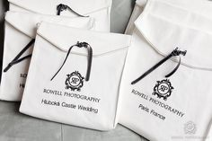 Rowell Photography custom wedding albums and embroidered bags