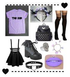 """""""Purple Pastel Princess"""" by zombieslovemusic on Polyvore featuring Iron Fist, ASOS, Forever 21, Pusheen, Punk, grunge, pastel and pastelgoth"""