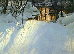 """Winter Pond - Merganser Ducks"" 1999 by Robert Bateman"