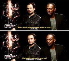 Sebastian Stan and Anthony Mackie - Captain America : Civil War - Visit to grab…