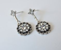 art deco clear crystal rhinestone tibetan silver plated post earrings wedding jewelry bridal jewelry bridesmaid gifts