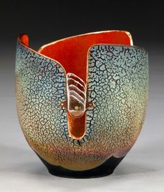 Copper sand Raku, copper, hishi bead, mica Currently at Hunter-Wolff Gallery