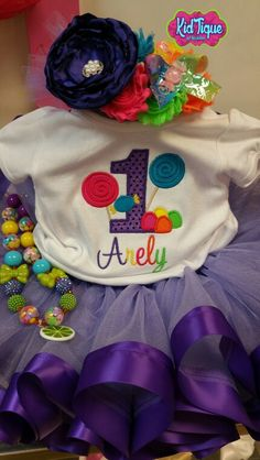 Candy land theme tutu set with head band & chunky bead necklace only #KidTiqueofMcallen @KidtiqueofMcallen
