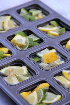 Garbage Disposal Tablets - Bitz & Giggles. Put lemon and lime slices in ice cube tray or muffin tin. Fill with white vinegar and freeze. When ready to use, run really hot water down sink for about a minute. Pour 1/2 c baking soda down drain. Add tablet and put water on trickle and run garbage disposal.