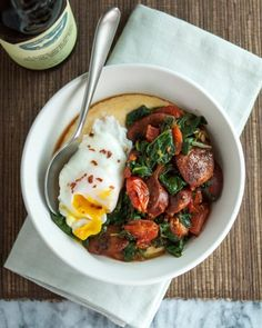 Polenta Bowl with Garlicky Spinach, Chicken Sausage & Poached Egg — Recipes from The Kitchn